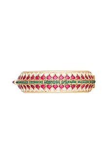 Gold Plated Red & Green Kundan Kada Bracelet by Rhmmya