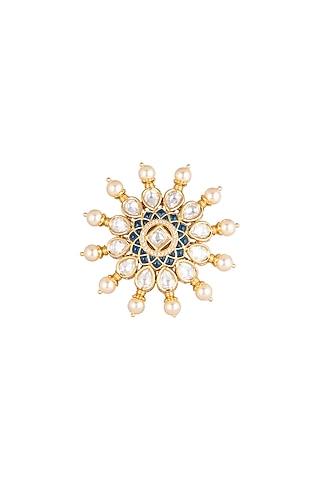 Gold Plated Stone & Kundan Ring by Rhmmya
