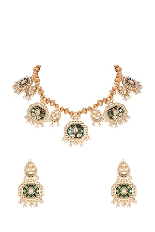 Gold Plated Necklace Set With Chakapra Balls by Rhmmya