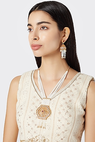 Gold Plated White Stone Necklace Set by Rhmmya