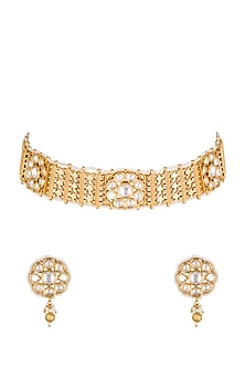 Gold Plated Floral Choker Necklace Set by Rhmmya