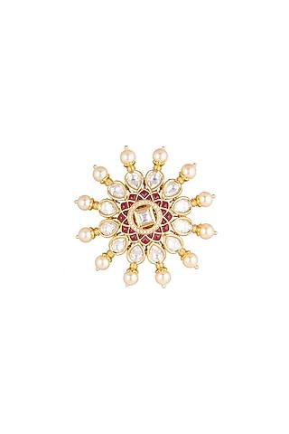 Gold Plated Kundan Ring by Rhmmya