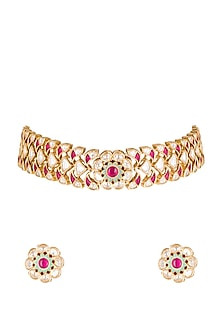 Gold Plated Floral Choker Necklace by Rhmmya