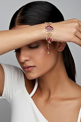 Gold Finish Mogra Bracelet In Sterling Silver by Rohira Jaipur
