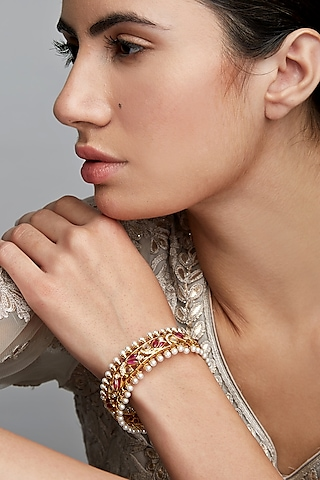 Gold Finish Pearl Mogra Bangle In Sterling Silver by Rohira Jaipur