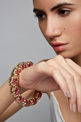 Gold Finish Gajra Bangle In Sterling Silver by Rohira Jaipur