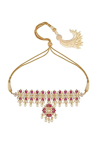 Gold Finish Choker Necklace In Sterling Silver by Rohira Jaipur