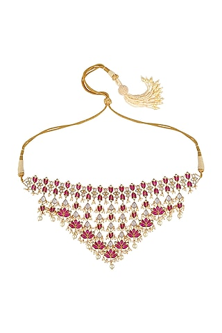 Gold Finish Bridal Necklace In Sterling Silver by Rohira Jaipur
