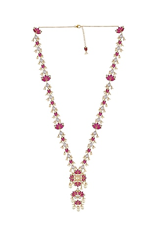 Gold Finish Long Pendant Necklace In Sterling Silver by Rohira Jaipur
