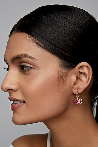 Gold Finish Mogra Hook Earrings In Sterling Silver by Rohira Jaipur