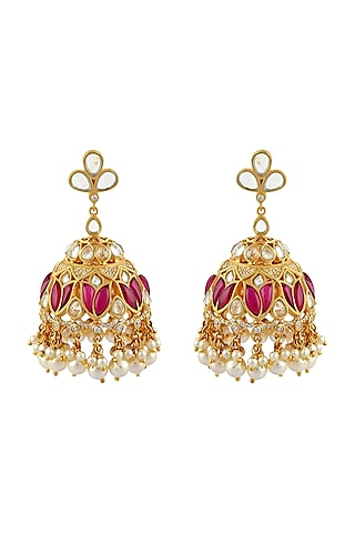 Gold Finish Mogra Jhumka Earrings In Sterling Silver by Rohira Jaipur
