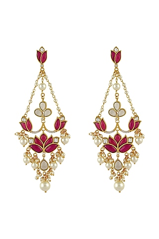 Gold Finish Pearl Mogra Long Earrings In Sterling Silver by Rohira Jaipur