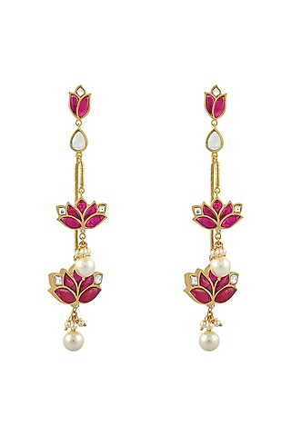 Gold Finish Pearl Mogra Motif Earrings In Sterling Silver by Rohira Jaipur