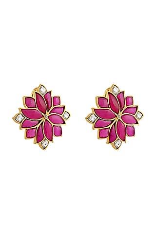 Gold Finish Kundan Polki Mogra Stud Earrings In Sterling Silver by Rohira Jaipur