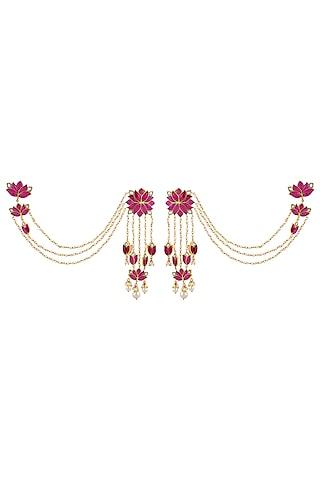 Gold Finish Kundan Polki Mogra Long Earrings In Sterling Silver by Rohira Jaipur
