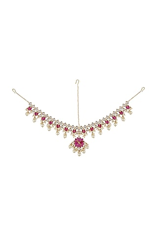 Gold Finish Mogra Mathapatti In Sterling Silver by Rohira Jaipur