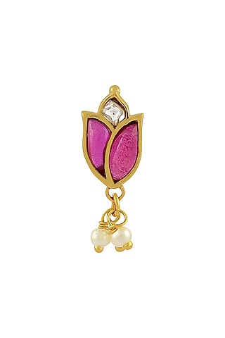 Gold Finish Mogra Nose Ring In Sterling Silver by Rohira Jaipur