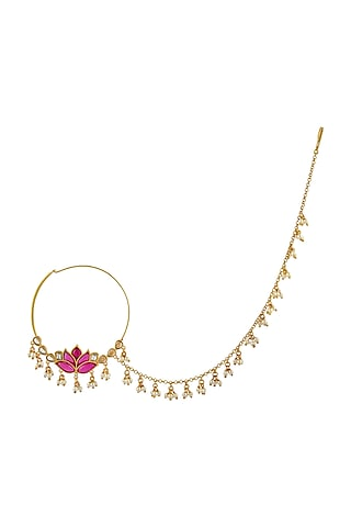 Gold Finish Mogra Nath In Sterling Silver by Rohira Jaipur
