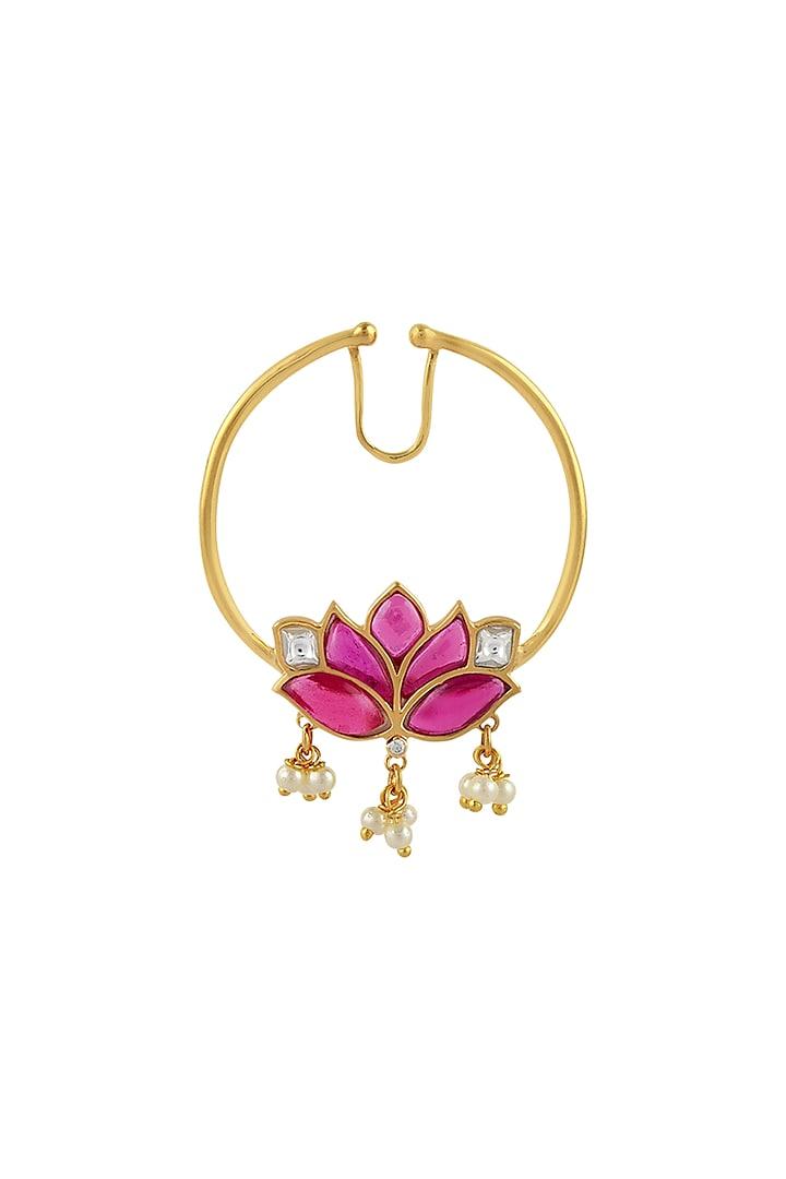 Gold Finish Mogra Kundan Polki Nose Ring In Sterling Silver by Rohira Jaipur