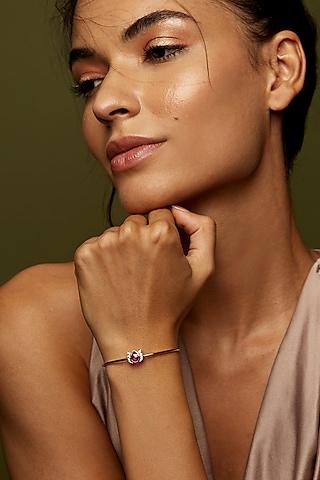 Gold Finish Single Motif Cuff Bracelet In Sterling Silver by Rohira Jaipur