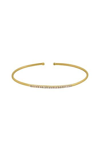 Gold Finish Tulip Garden Cuff Bracelet In Sterling Silver by Rohira Jaipur
