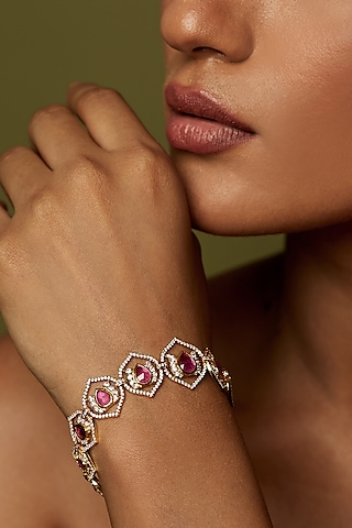 Gold Finish Bracelet With Semi Precious Stones In Sterling Silver by Rohira Jaipur