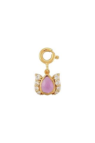 Gold Finish Tulip Garden Bracelet Charm In Sterling Silver by Rohira Jaipur