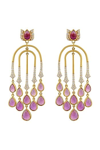 Gold Finish Semi Dangler Earrings In Sterling Silver by Rohira Jaipur
