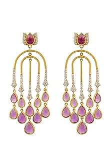 Gold Finish Semi Dangler Earrings In Sterling Silver by Rohira Jaipur