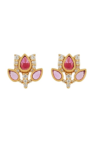 Gold Finish Tulip Garden Stud Earrings In Sterling Silver by Rohira Jaipur
