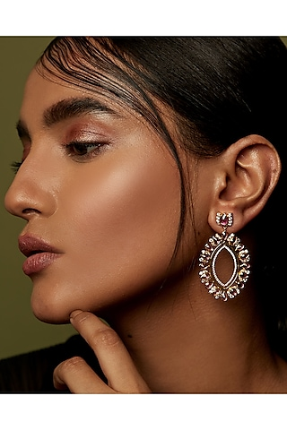 Gold Finish Semi Precious Stone Dangler Earrings In Sterling Silver by Rohira Jaipur