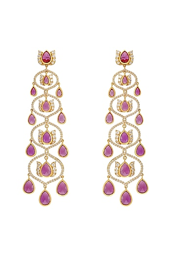 Gold Finish Chandelier Earrings In Sterling Silver by Rohira Jaipur
