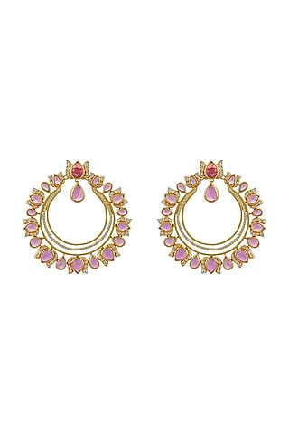 Gold Finish Semi Precious Stone Earrings In Sterling Silver by Rohira Jaipur