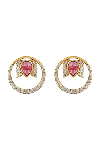 Gold Finish Diamond Round Stud Earrings In Sterling Silver by Rohira Jaipur