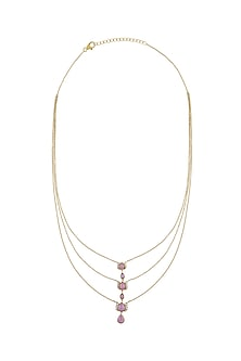 Gold Finish Diamond Three Layered Necklace In Sterling Silver by Rohira Jaipur-GIFTS FOR HER
