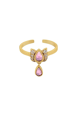 Gold Finish Diamond Ring In Sterling Silver by Rohira Jaipur