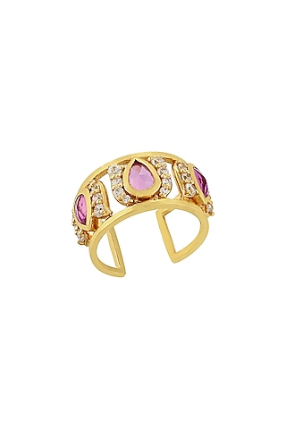 Gold Finish Diamond Multiple Band Ring In Sterling Silver by Rohira Jaipur