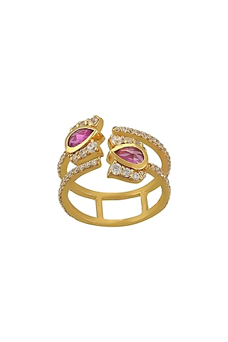 Gold Finish Diamond Double Band Ring In Sterling Silver by Rohira Jaipur