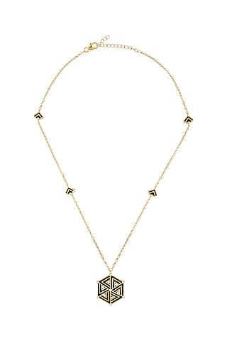 Gold Finish Enameled Pendant Necklace In Sterling Silver With Zircon by Rohira Jaipur