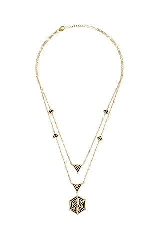 Gold Finish Zircon & Enameled Layered Necklace In Sterling Silver by Rohira Jaipur