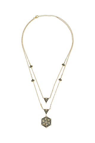 Gold Finish Enameled & Zircon Layered Necklace In Sterling Silver by Rohira Jaipur