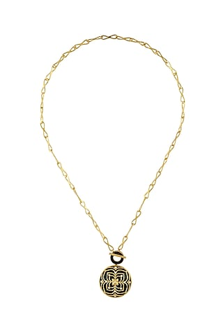 Gold Finish Zircon & Enameled Necklace In Sterling Silver by Rohira Jaipur