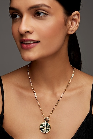 Gold Finish Enameled & Zircon Necklace In Sterling Silver by Rohira Jaipur