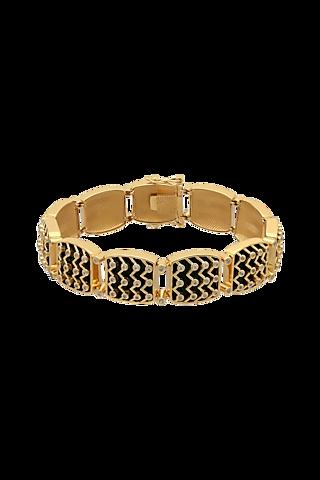 Gold Finish Zircon & Enameled Bracelet In Sterling Silver by Rohira Jaipur