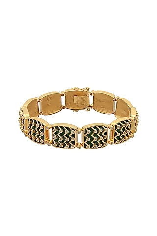 Gold Finish Enameled & Zircon Bracelet In Sterling Silver by Rohira Jaipur