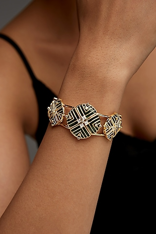 Gold Finish Zircon & Enameled Floral Cuff Bracelet In Sterling Silver by Rohira Jaipur