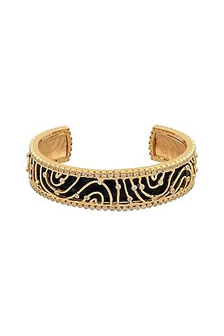 Gold Finish Enameled & Zircon Cuff Bracelet In Sterling Silver by Rohira Jaipur