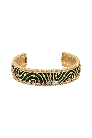 Gold Finish Zircon Cuff Bracelet In Sterling Silver by Rohira Jaipur