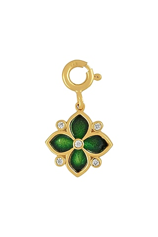 Gold Finish Enameled & Zircon Floral Charm In Sterling Silver by Rohira Jaipur