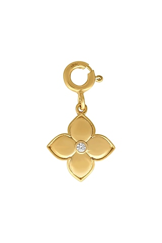 Gold Finish Zircon Floral Charm In Sterling Silver by Rohira Jaipur